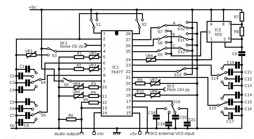 sn76477 single chip synth corrected diagram