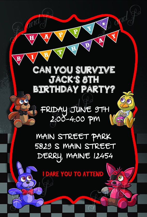 FNAF Five Nights At Freddys Printable Birthday