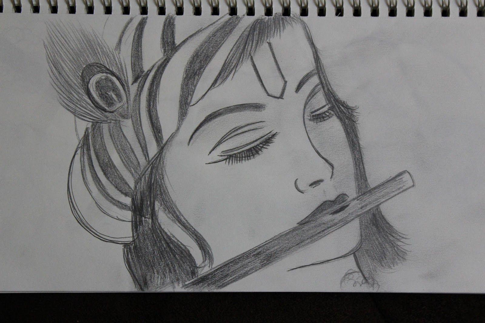 Lord krishna sketch krishna drawing krishna art krishna leela easy drawings sketches
