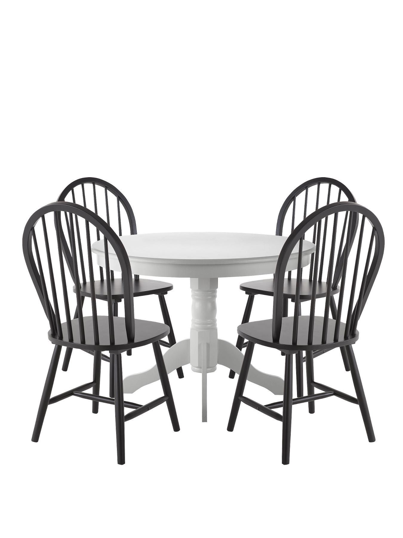 Kentucky White Dining Table with 4 Black Chairs  06d8f49bde
