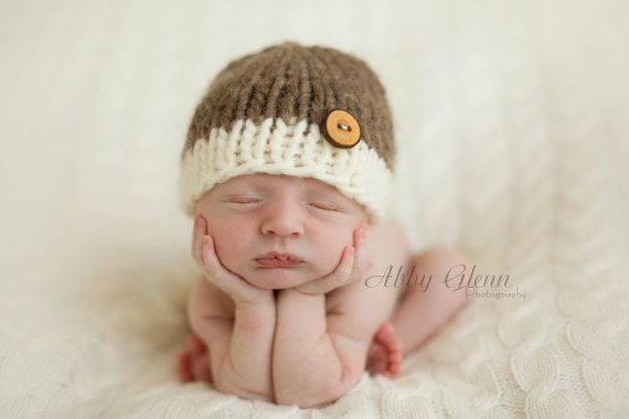 Little Knit Two Tone Beanie for Baby in Cream by LittleKnitLovey ... 69d42ad3104