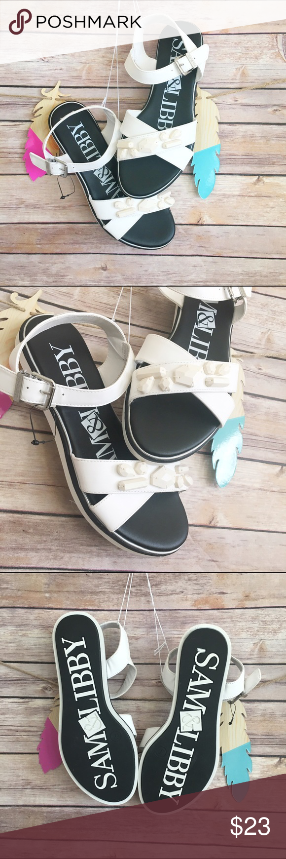 """Sam & libby jacquelyn stone embellished sandals Fun and comfortable shoes. Non marking outsole, cushioned insole, dual straps that cross at the toe with monochromatic stone details and an adjustable buckle strap at the ankle and heel. Medium width, contoured footbed. Outsole is 100% thermoplastic rubber. Approx 1.0"""" heel Sam & Libby Shoes Sandals"""