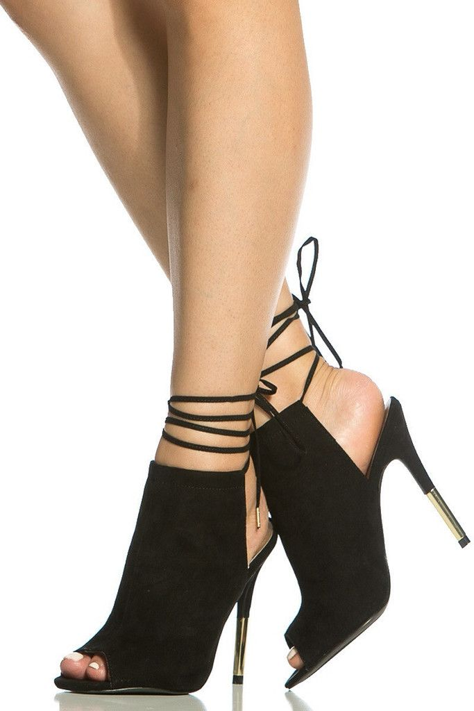 Buy Black Faux Suede Lace Up Peep Toe Heels with cheap price and high  quality from Cicihot Heel Shoes online store which also sales Stiletto Heel  Shoes,High ...