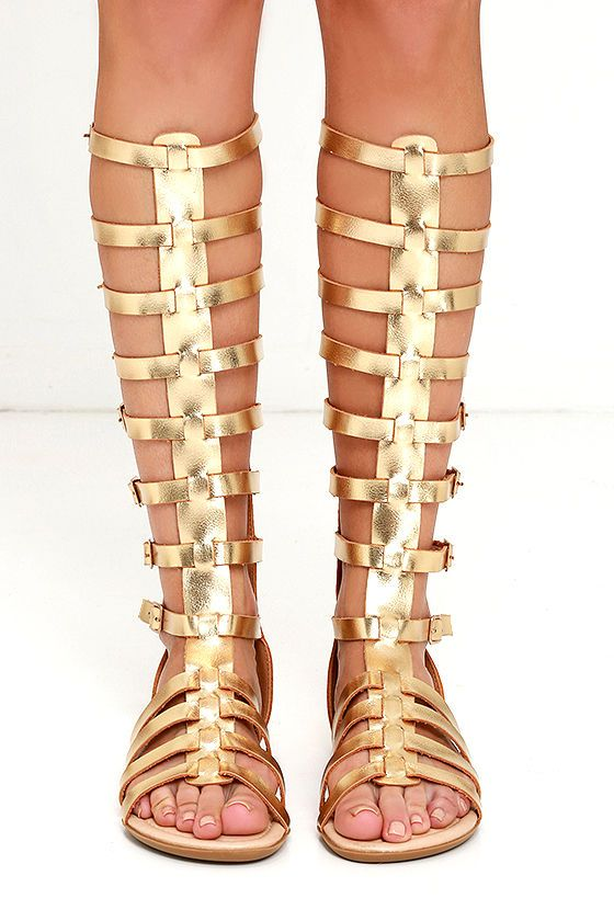 c6954516381 Post up on the Mediterranean in the Alexandria Gold Tall Gladiator Sandals