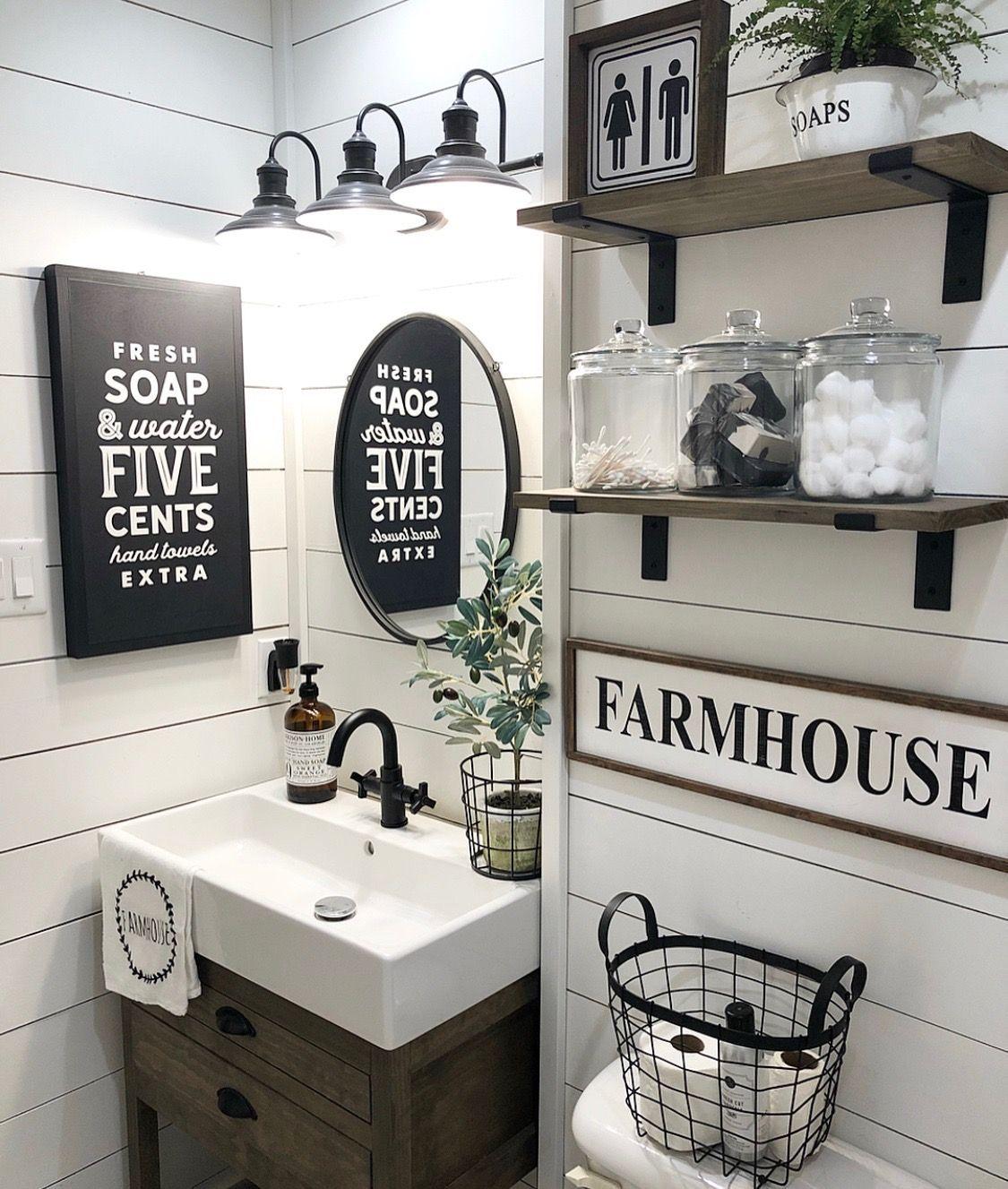 Too Much But Cute Individual Ideas 36 Beautiful Farmhouse Bathroom Design And Decor Idea Bathroom Farmhouse Style Small Bathroom Decor Farmhouse Bathroom Decor