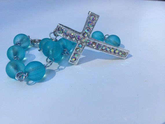 Side Rhinestone Cross Blue Sea Glass Wire Wrapped Bracelet