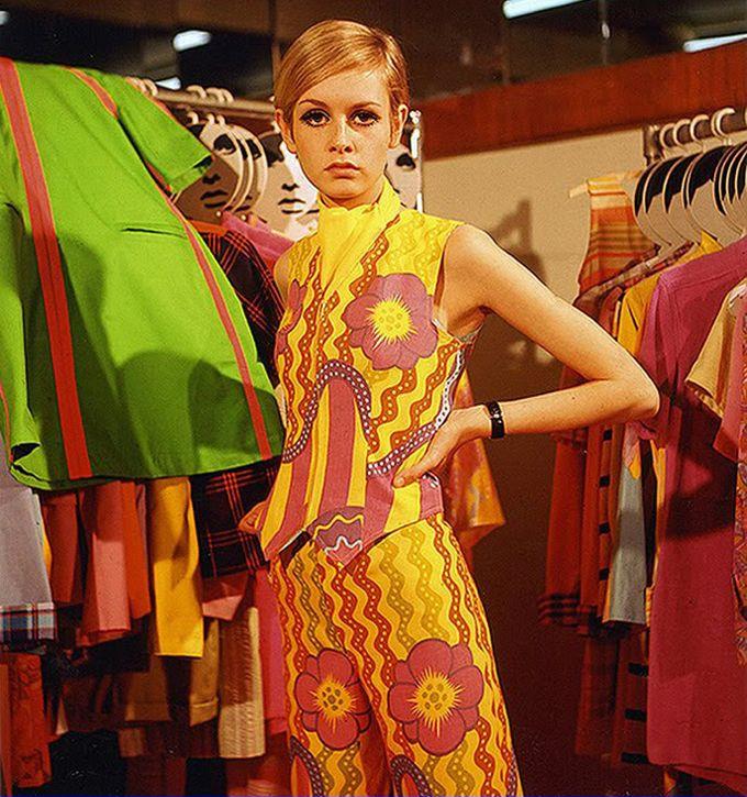 Twiggy modelling BIBA. 1960s