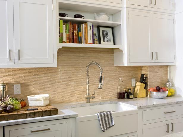 Gl Tan Kitchen Backsplash A Neutral Toned Tile Is Set In White Grout So