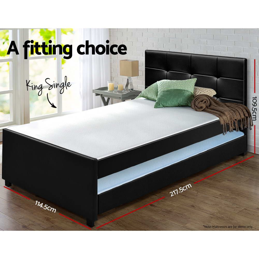 Fulham Black King Single Trundle Bed Frame Online Only Matt