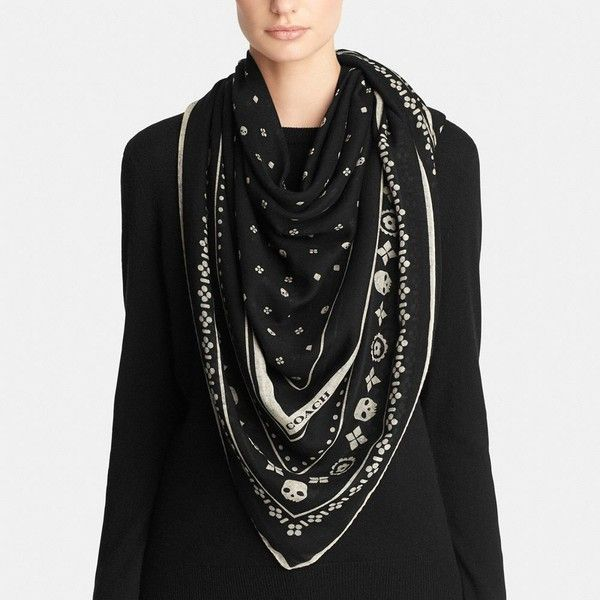 original à chaud style distinctif techniques modernes Coach Skulls Wool Foulard Oversize Square ($277) ❤ liked on ...