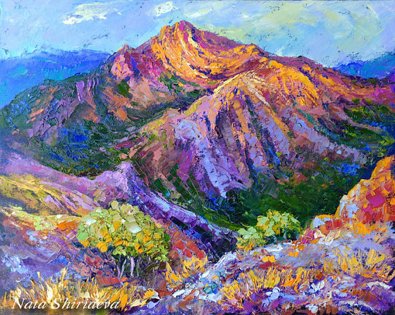 Mountain Landscape Painting Wall Art Impasto Paintings Palette Knife Night Landscape Blue Pink Mountain Landscape Painting Mountain Paintings Impasto Painting