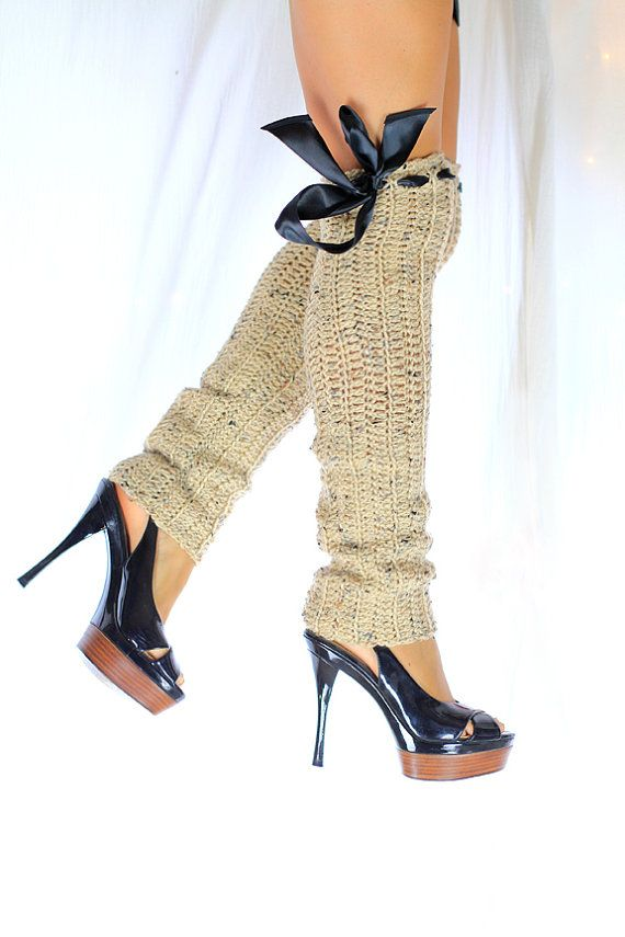 Over the Knee Leg Warmers Thigh High door mademoisellemermaid  sc 1 st  Pinterest & Over the Knee Leg Warmers - Thigh High Crochet Legwarmers - Tan ...
