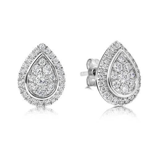 9ct White Gold Diamond Pear Shaped Stud Earrings Tdw 0 50ct