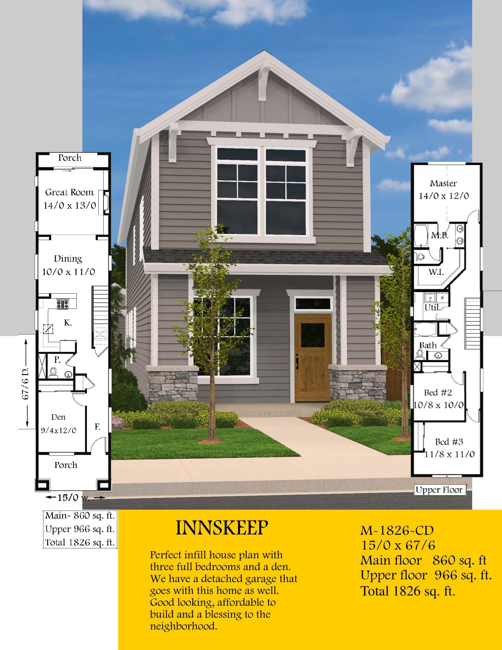 Innskeep Skinny House Plan By Mark Stewart Home Design House Plans Narrow Lot House Plans Modern House Plans