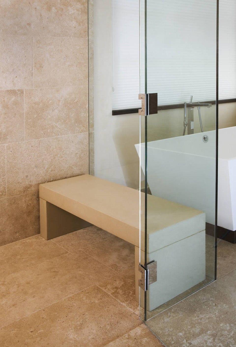 Brown Bathroom Tile Design Idea feat Contemporary Shower Bench