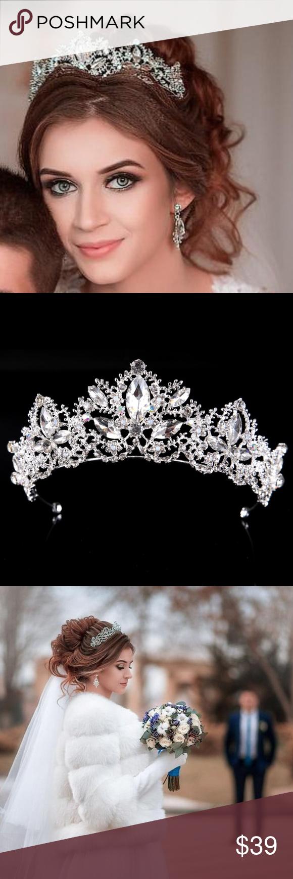 New Bridal Rhinestone Tiara Crown Wedding Silver Boutique