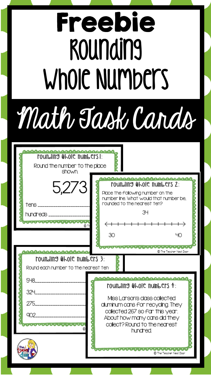 Freebie Rounding Whole Numbers Task Cards | Rounding Math Center ...