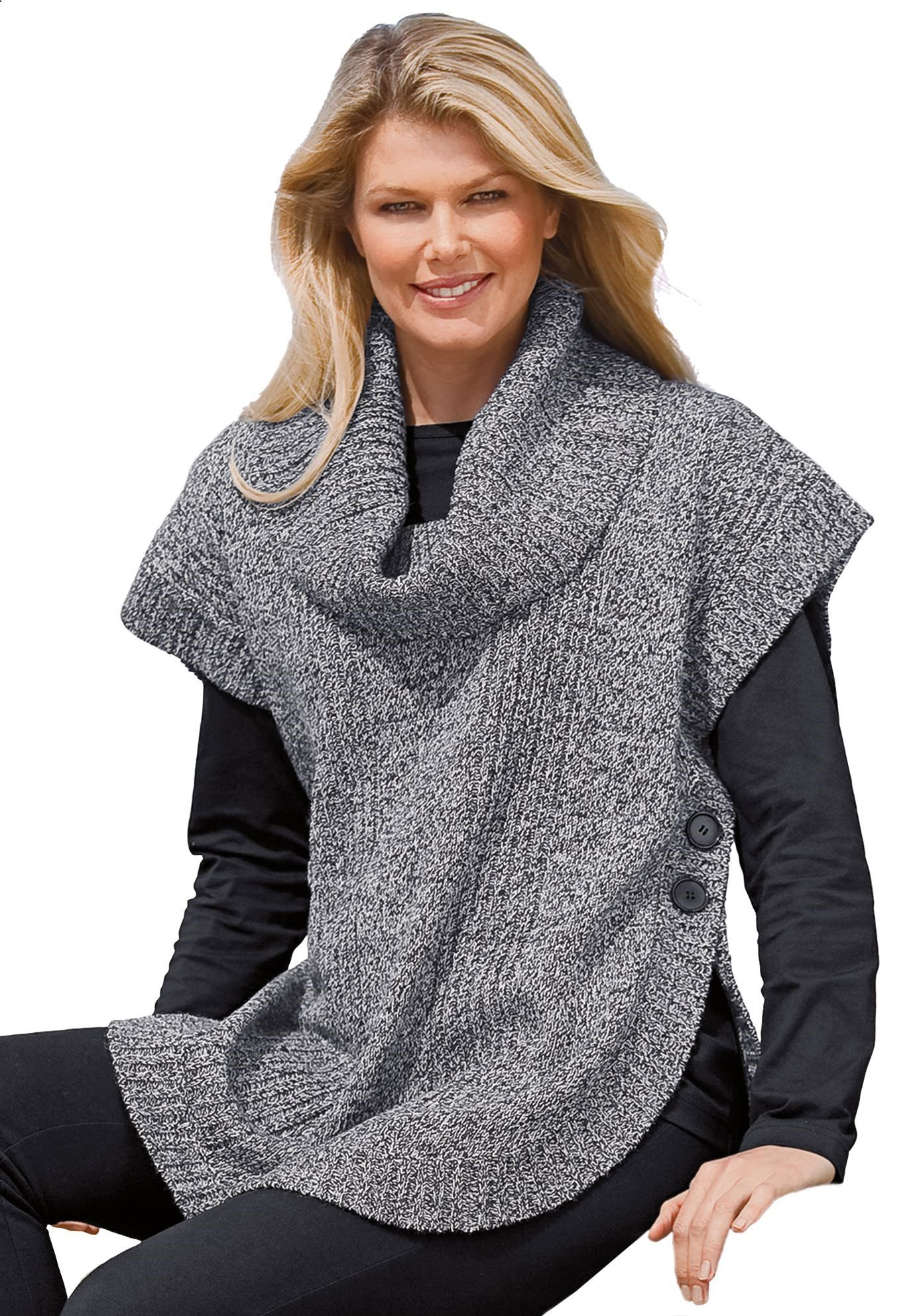 Woman Within Womens Plus Size Marled Knit Cowl Neck Poncho