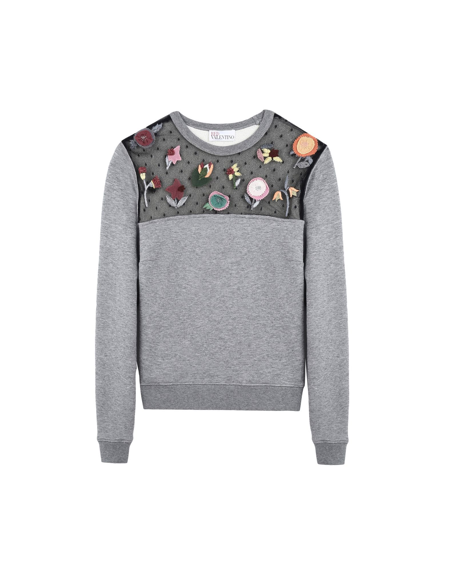 VALENTINE GAUTHIER Cotton-blend embroidered sweatshirt Grey 2724398 Women's  Sweatshirts Promotions vT1XaZvS