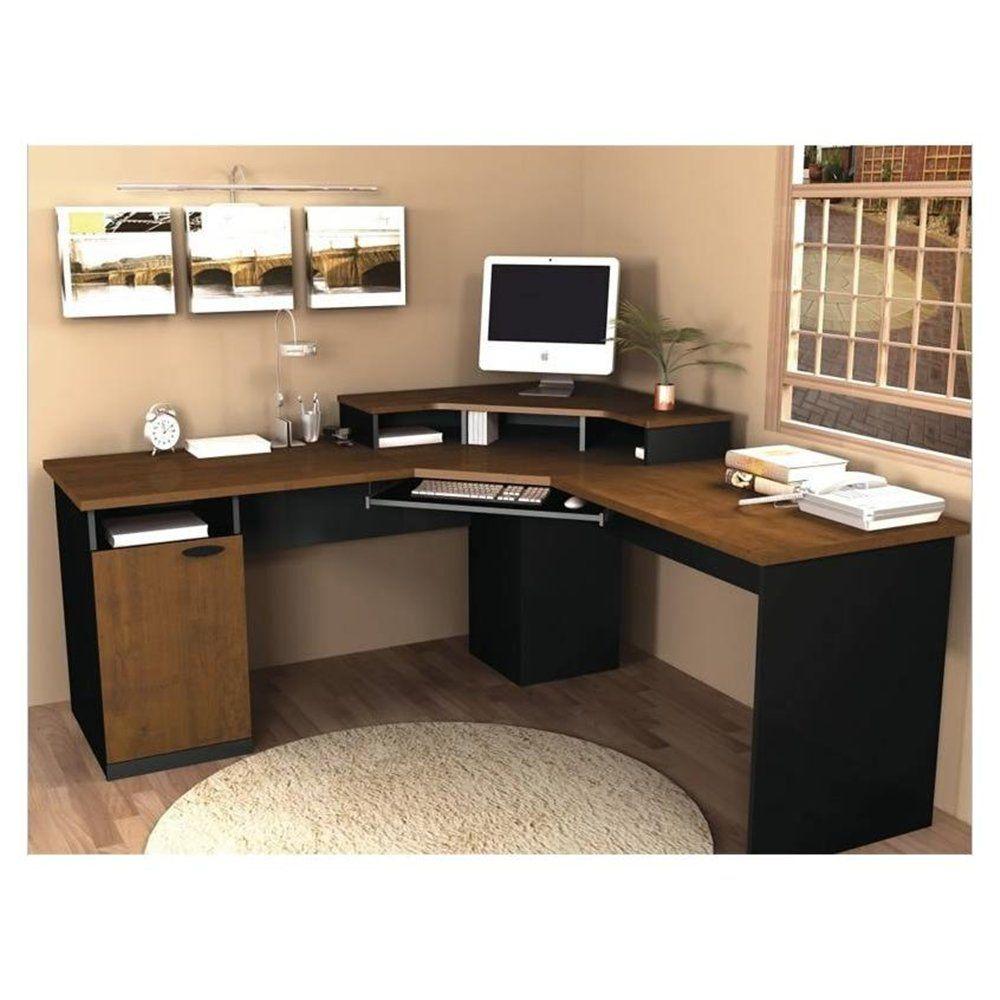 Fabulous corner computer desks for home office furniture amazing lshaped brown top black corner computer desk design with keyboard storage and artistic