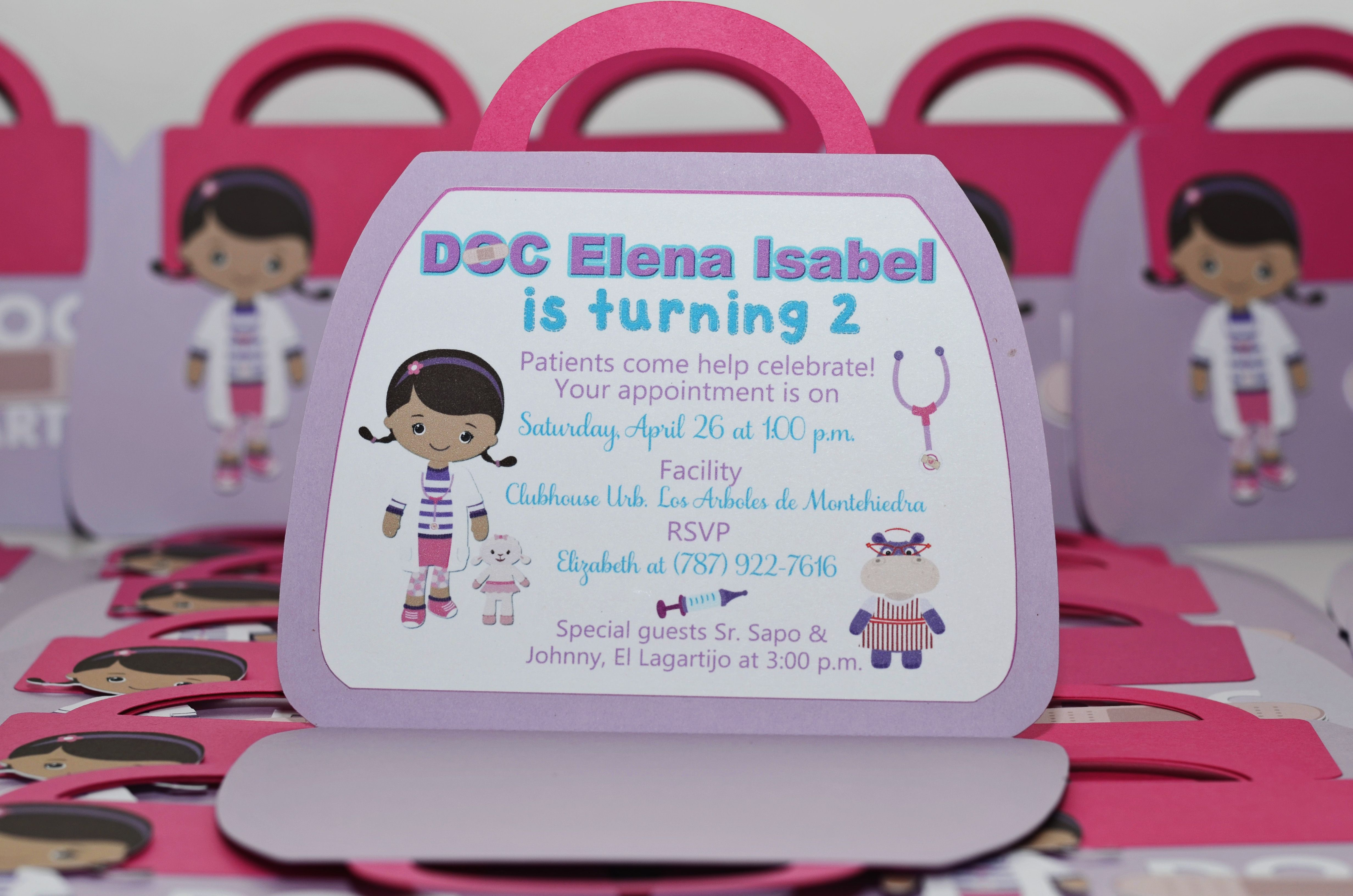 Doc McStuffin Invitations and Party Tags Doc mcs Girl birthday