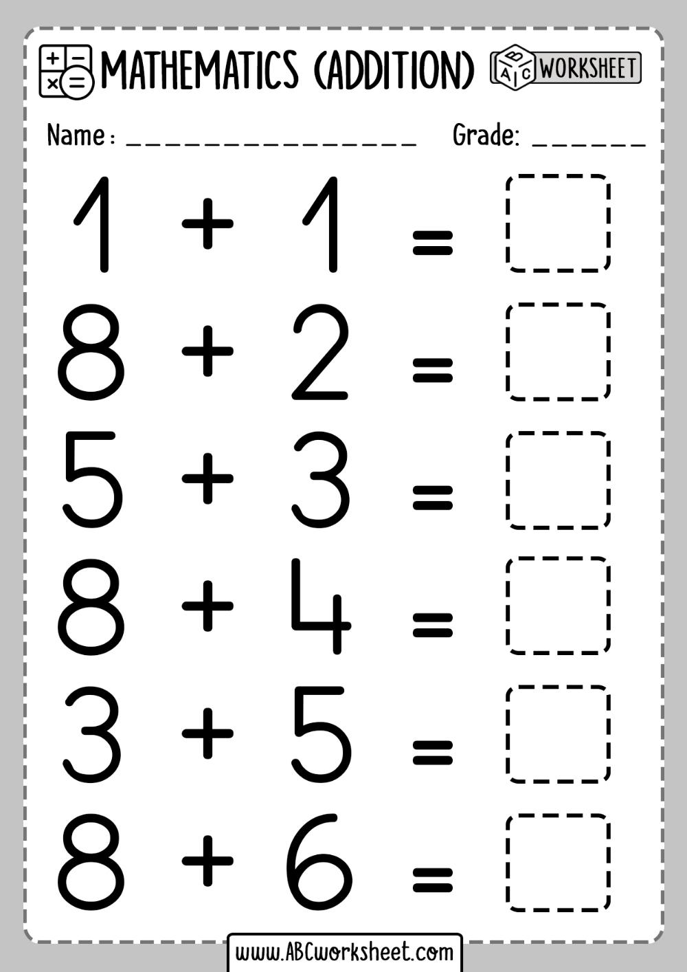 1st Grade Math Worksheet Addition - ABC Worksheet en 2020 [ 1414 x 1000 Pixel ]