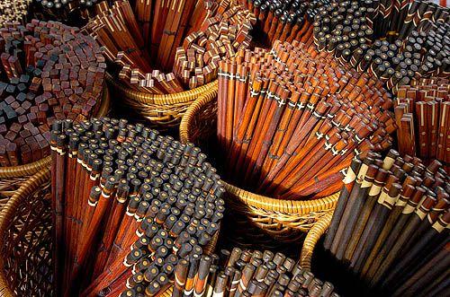Ebony and rosewood chopsticks for sale in Korea. Photo by Jon Hill @Safarishots.com
