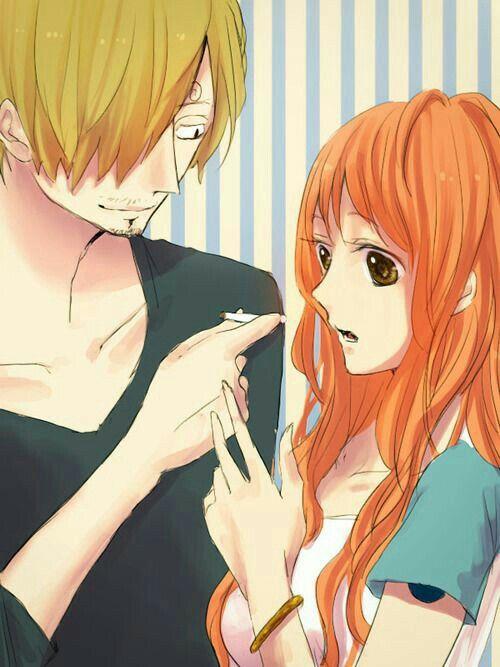 Nami, Sanji, couple, cigarette; One Piece