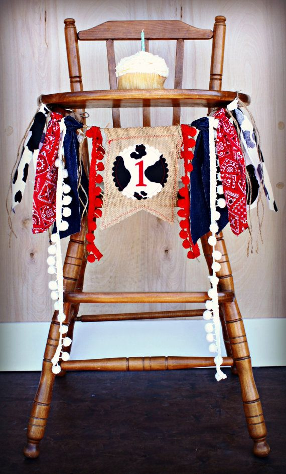 Rodeo Cowboy Birthday Highchair High Chair Banner Party
