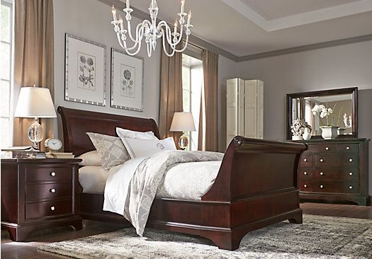 Whitmore Cherry 8 Pc Queen Sleigh Bedroom Bedroom Sets Queen Cherry Bedroom Furniture King Bedroom Sets