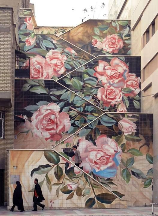 Iranian Flowers. Street art in Tehran. Street Art in Iran: Social Commentary on the Streets of Tehran on http://TheCultureTrip.com. Click the image to read the article. (Image via http://facebook.com). u love ART ? check the link  http://stores.ebay.com/urban-art-designs https://www.etsy.com/shop/urbanNYCdesigns?ref=hdr_shop_menu