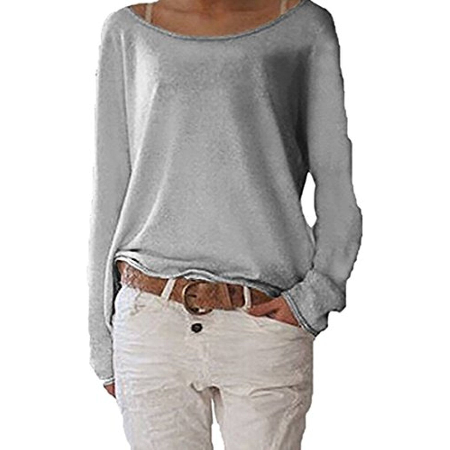 Sexi ladies Long Sleeve Batwing Baggy Jumper Jersey Stretch Tunic Top 32
