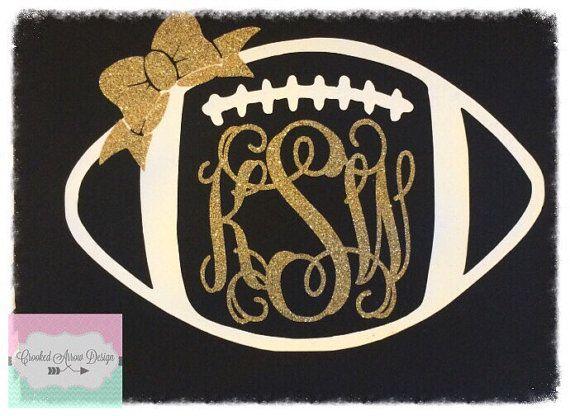 0f115550 Monogram Football with Bow shirt Custom 3T by CrookedArrowDesign ...