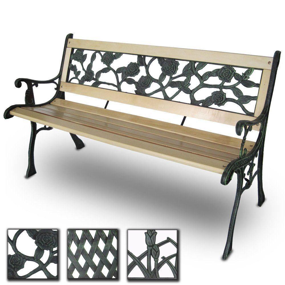 Miadomodo Grtb01 3 3 Seater Wooden Outdoor Garden Bench With Rose