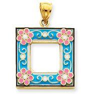 14K Gold Aqua Enameled Picture Frame Pendant