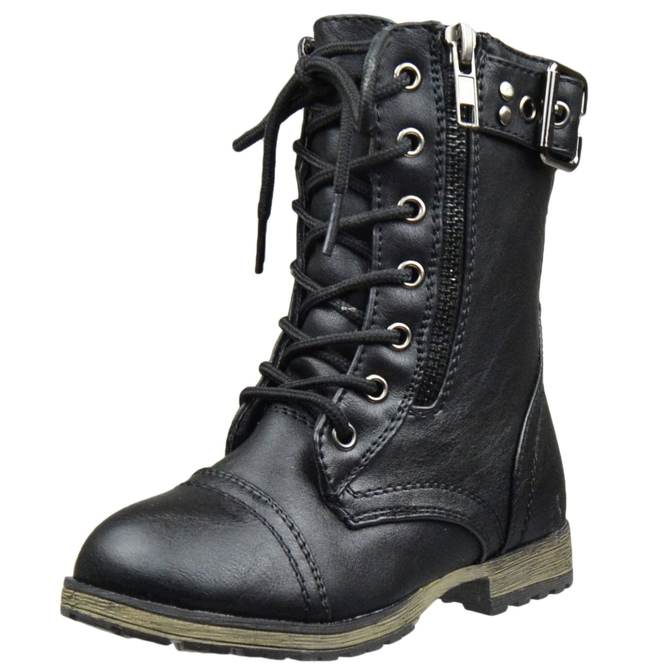 Kids Mid Calf Boots Buckle Accent Lace Up Combat Boots Black ...