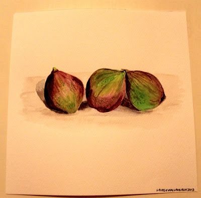 Figs, watercolor on paper by The Blue Studio, Lauren MacLaughlin