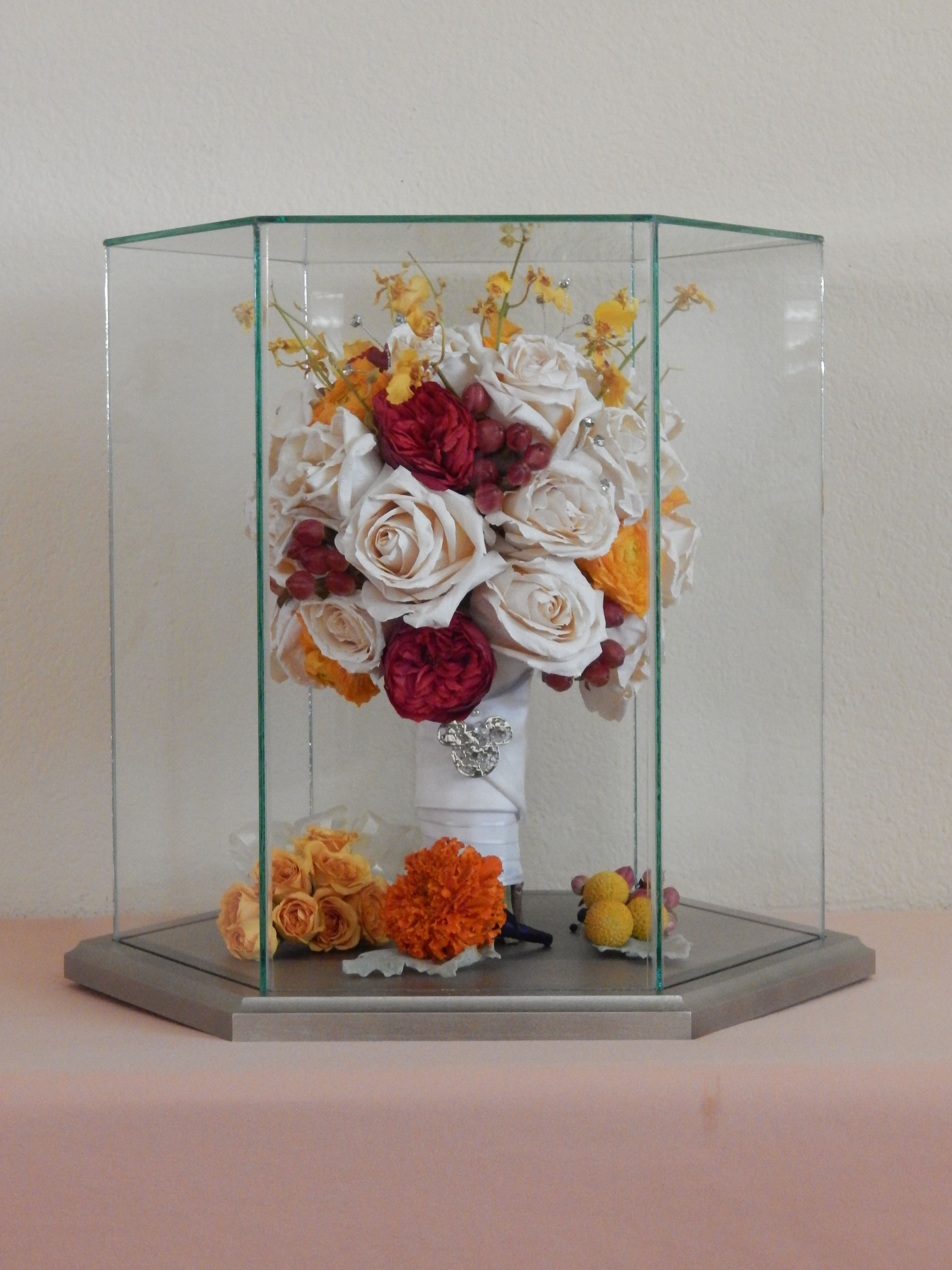 A hexagon case can display your entire bouquet plus a corsage and ...