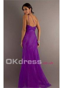 V-neck Empire A-Line Shoulder Strap Long Formal Dresses