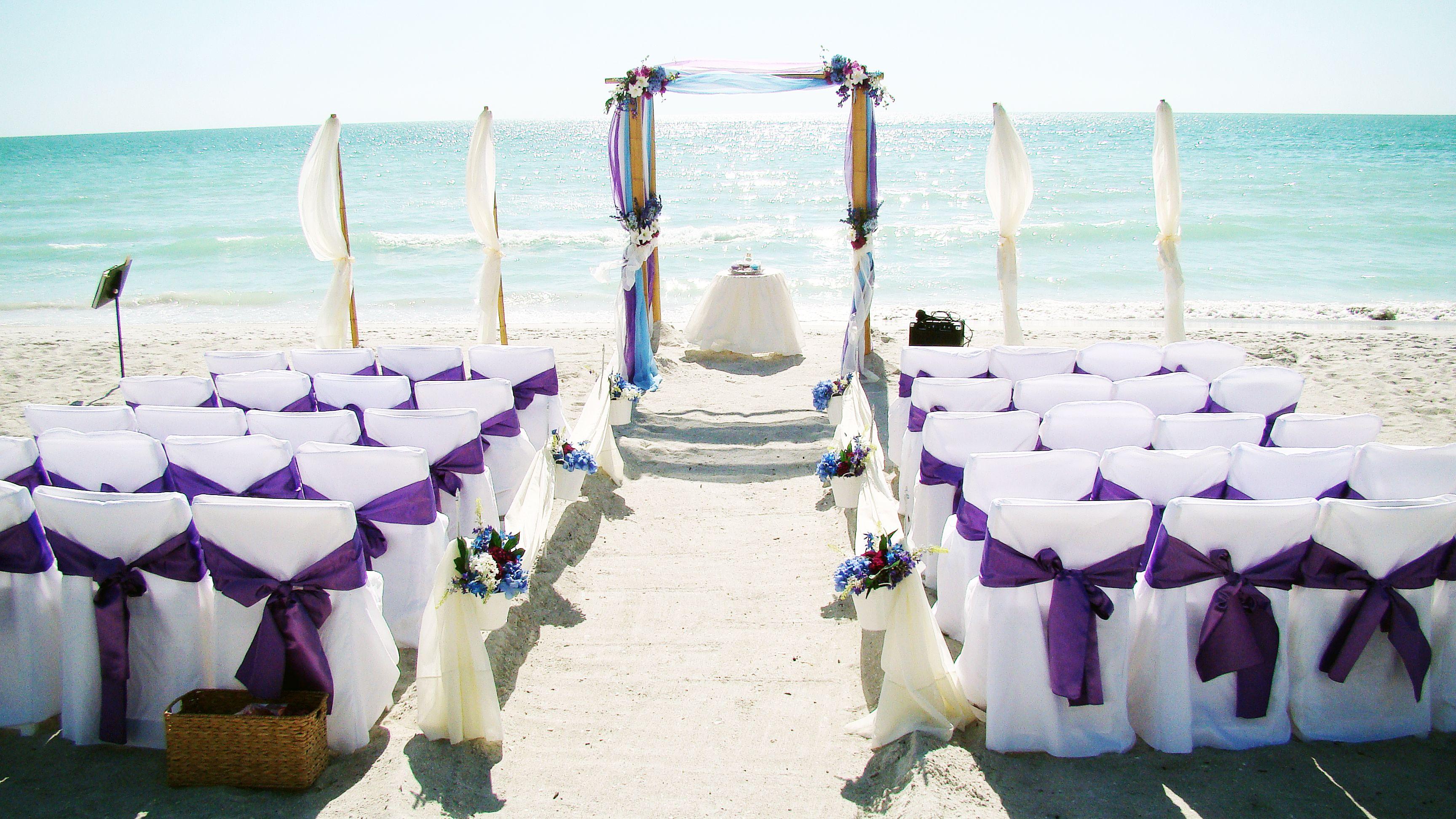 purple beach wedding | beach wedding canopies & chuppas
