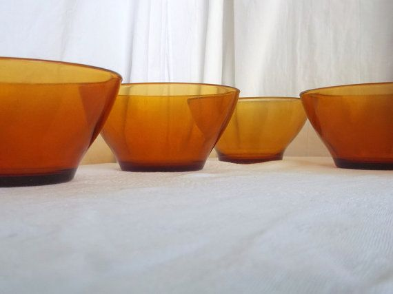 Duralex amber glass cereal bowls set of 5 by Frenchidyll on Etsy