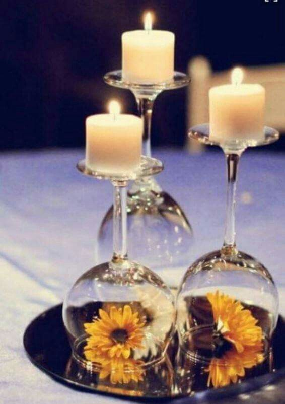 Inexpensive wedding centerpiece for guest tables natalie gregs wine glass used as candle holder put a flower or decoration under wedding black blue brown candle decoration diy flowers gold green ivory navy orange solutioingenieria Images