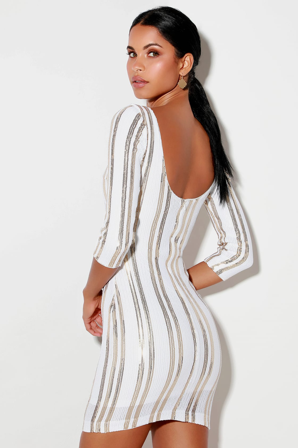 Standing Ovation White And Gold Sequin Striped Bodycon Dress Striped Bodycon Dress Bodycon Dress Lace Bodycon Dress [ 1500 x 1000 Pixel ]