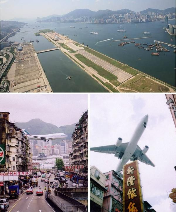 Kai Tak Airport, Hong Kong A descent onto the famous Runway 13 at Kai Tak Airport involved passing low over the crowded harbour and densely populated Western Kowloon area, before making a sharp 47 degree turn above a checkerboard marker on a nearby hillside. If everything went smoothly, the plane would level out at just 140 feet before dropping onto the runway. Kai Tak has since been replaced by a more modern airport, but the legend of Runway 13 will live on in aviation infamy