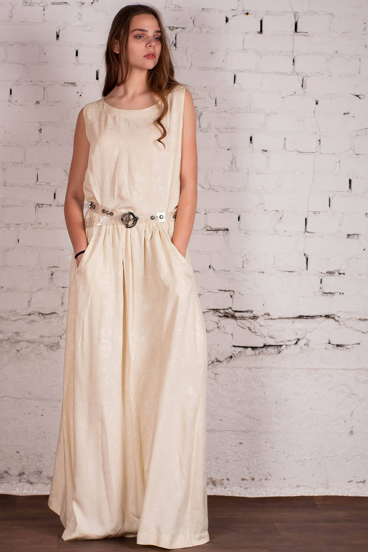 Maxi ivory sundress sleeveless cocktail dress evening dress cotton