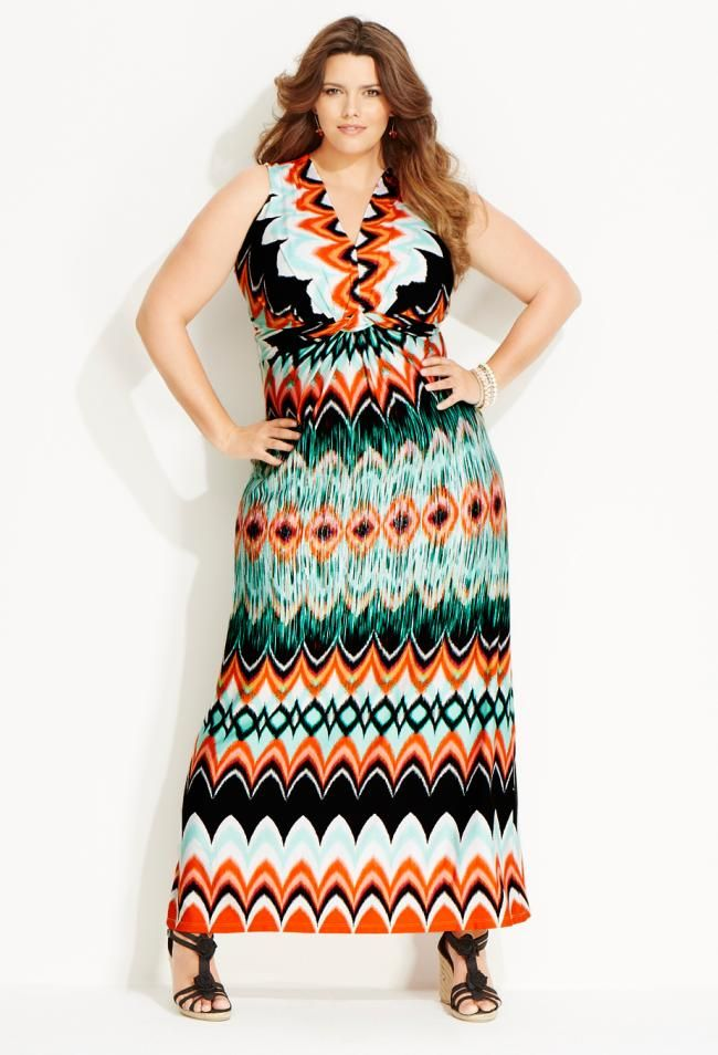 Chevron Print Maxi Dress From Avenue Collections Plussize
