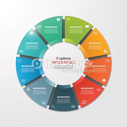 Vector Art  Pie chart circle infographic template with 9 options - circle template