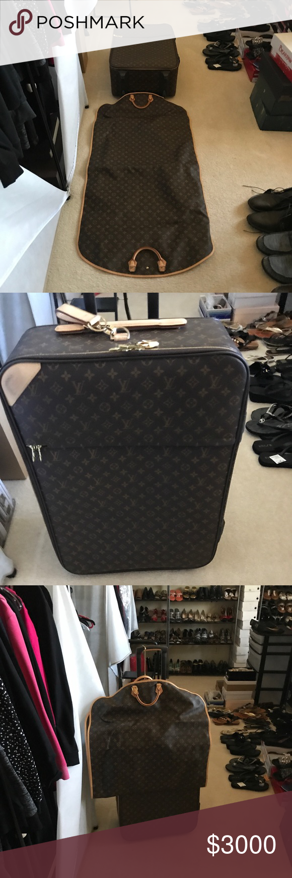 19ab7bd16364 Louis Vuitton luggage Garment bag and Suitcase. Louis Vuitton luggage This  is a two piece luggage set very well-maintained it taking care of.