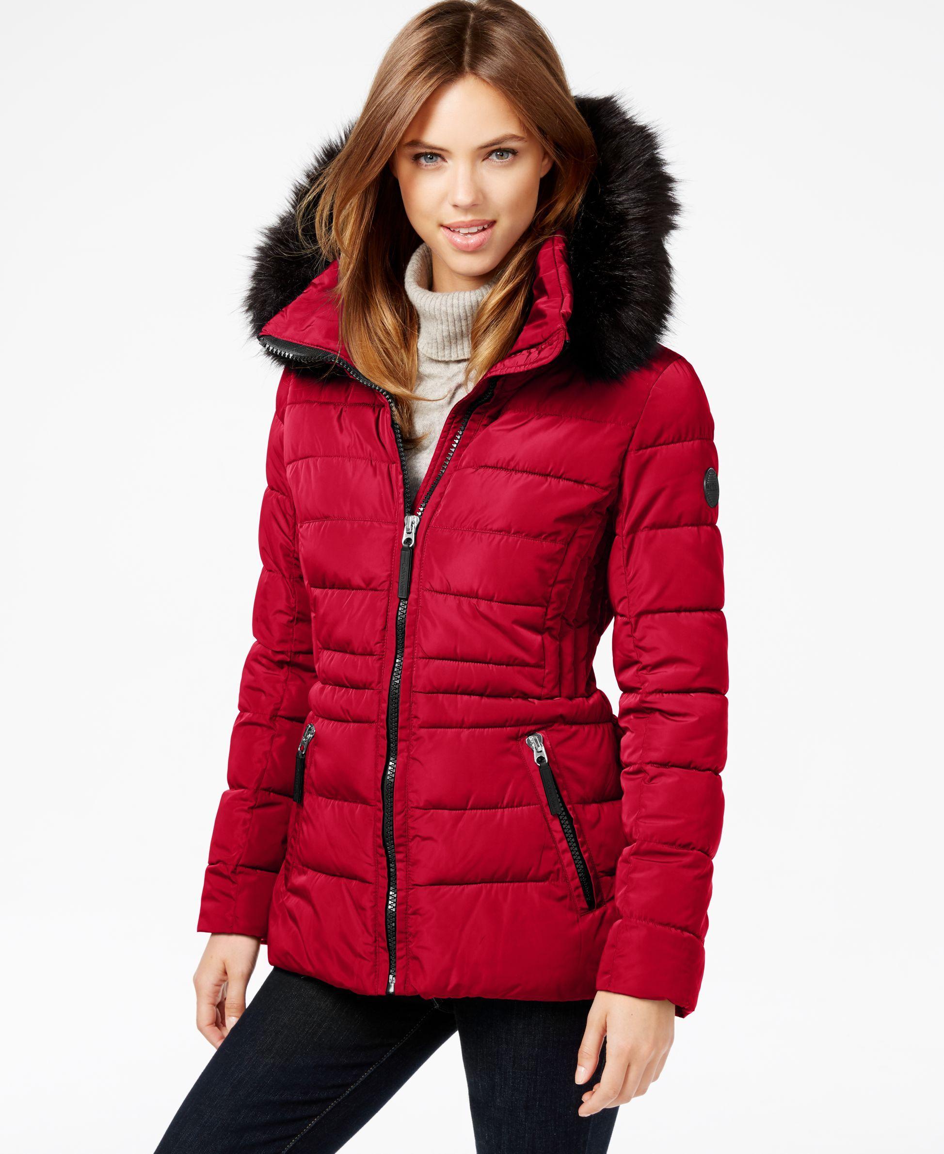 cc3a92de6 Calvin Klein Hooded Faux-Fur-Trim Quilted Puffer Coat | Downjacket ...