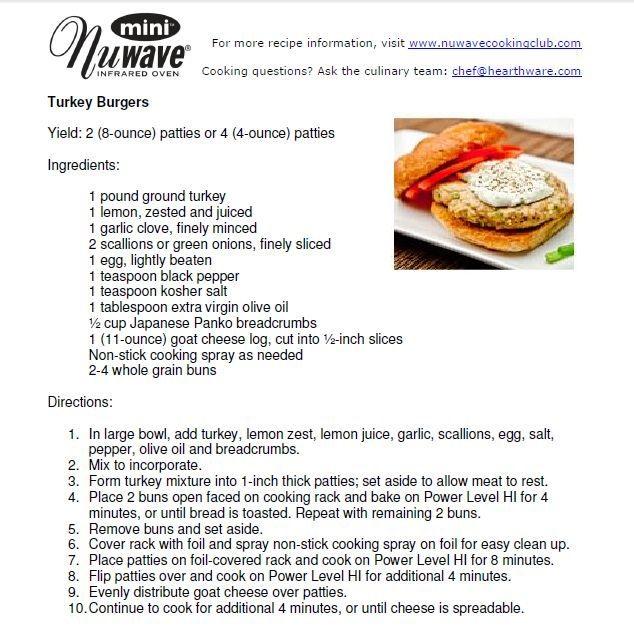 Nuwave Turkey Burgers Halogen Oven Recipes Turkey Burgers Cooking